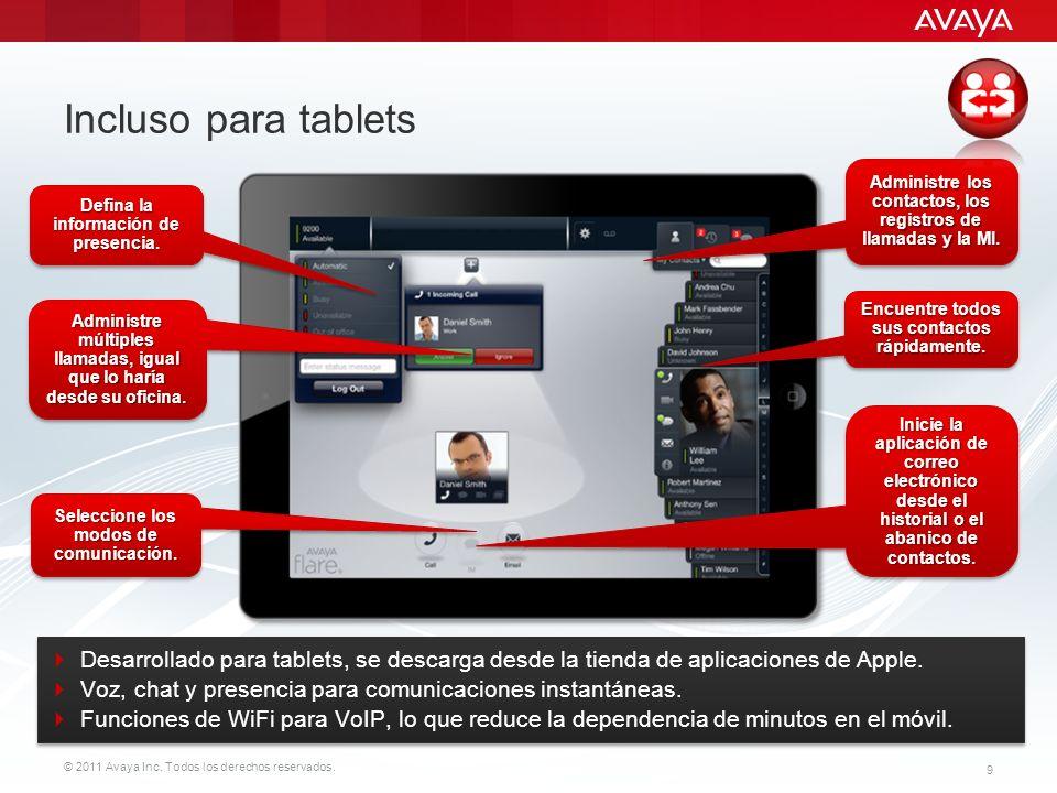 Incluso para tablets Administre los contactos, los registros de llamadas y la MI. Defina la información de presencia.