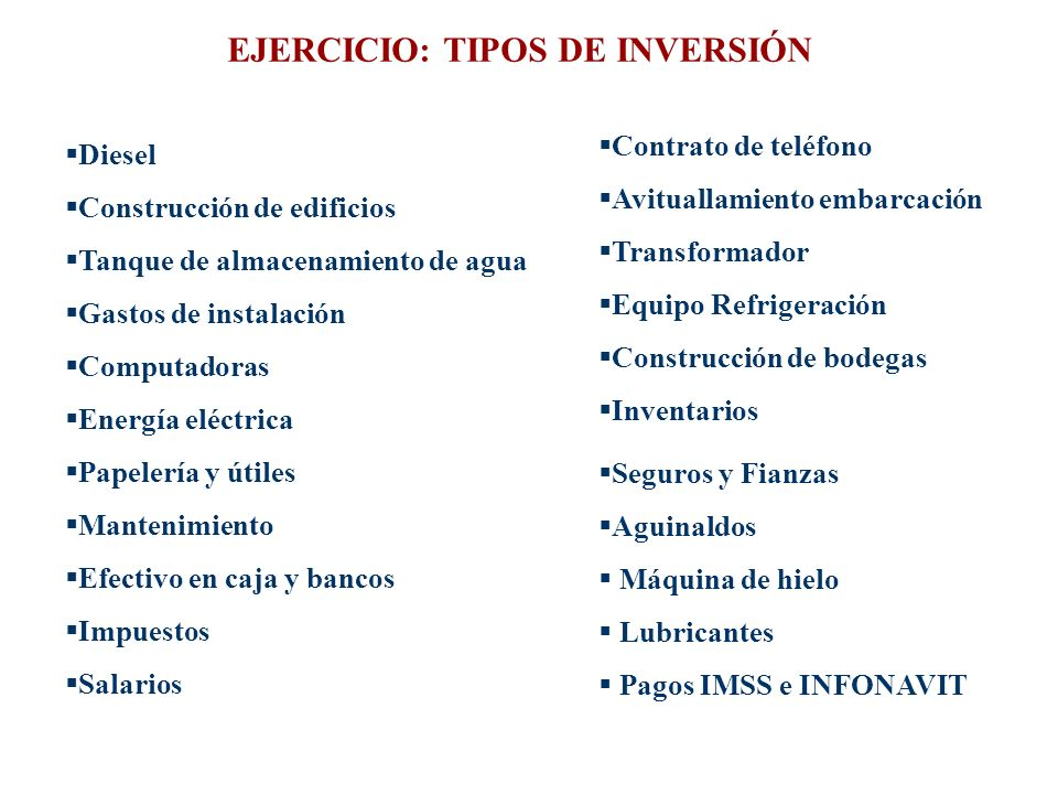 EJERCICIO: TIPOS DE INVERSIÓN