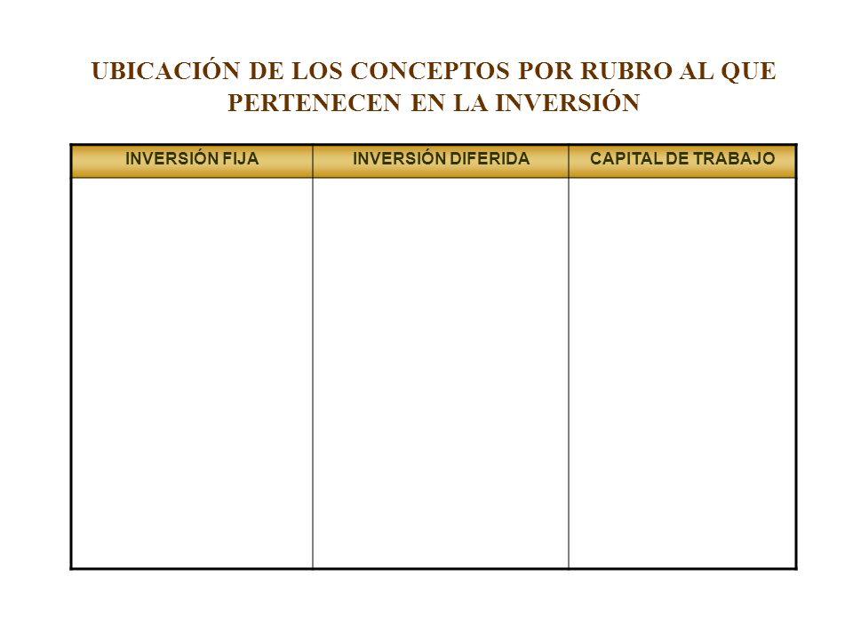 UBICACIÓN DE LOS CONCEPTOS POR RUBRO AL QUE PERTENECEN EN LA INVERSIÓN