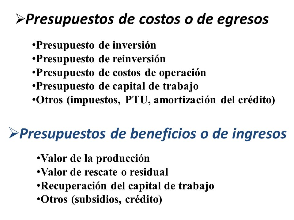 Presupuestos de costos o de egresos