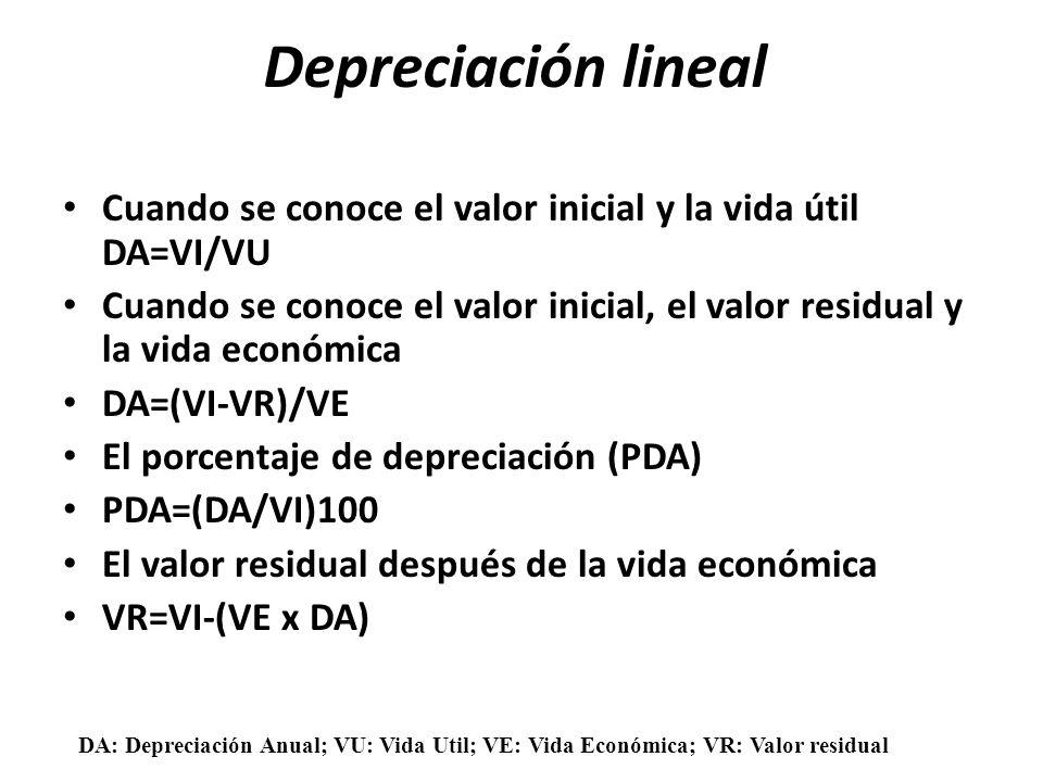 Depreciación lineal Cuando se conoce el valor inicial y la vida útil DA=VI/VU.