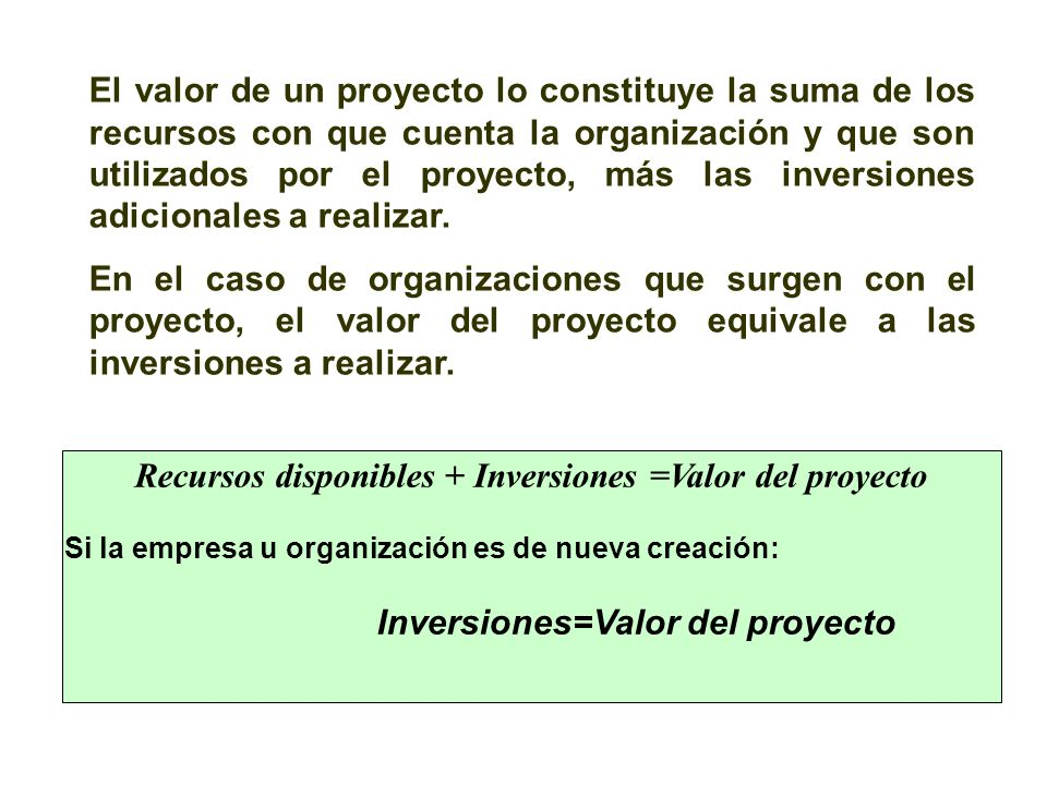 Recursos disponibles + Inversiones =Valor del proyecto