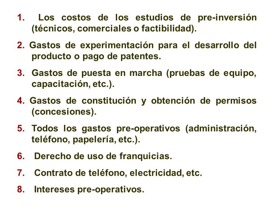 1. Los costos de los estudios de pre-inversión (técnicos, comerciales o factibilidad).