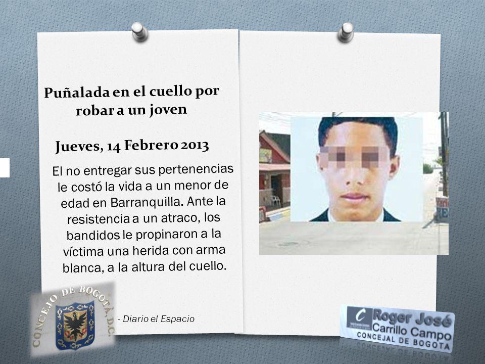 Puñalada en el cuello por robar a un joven Jueves, 14 Febrero 2013