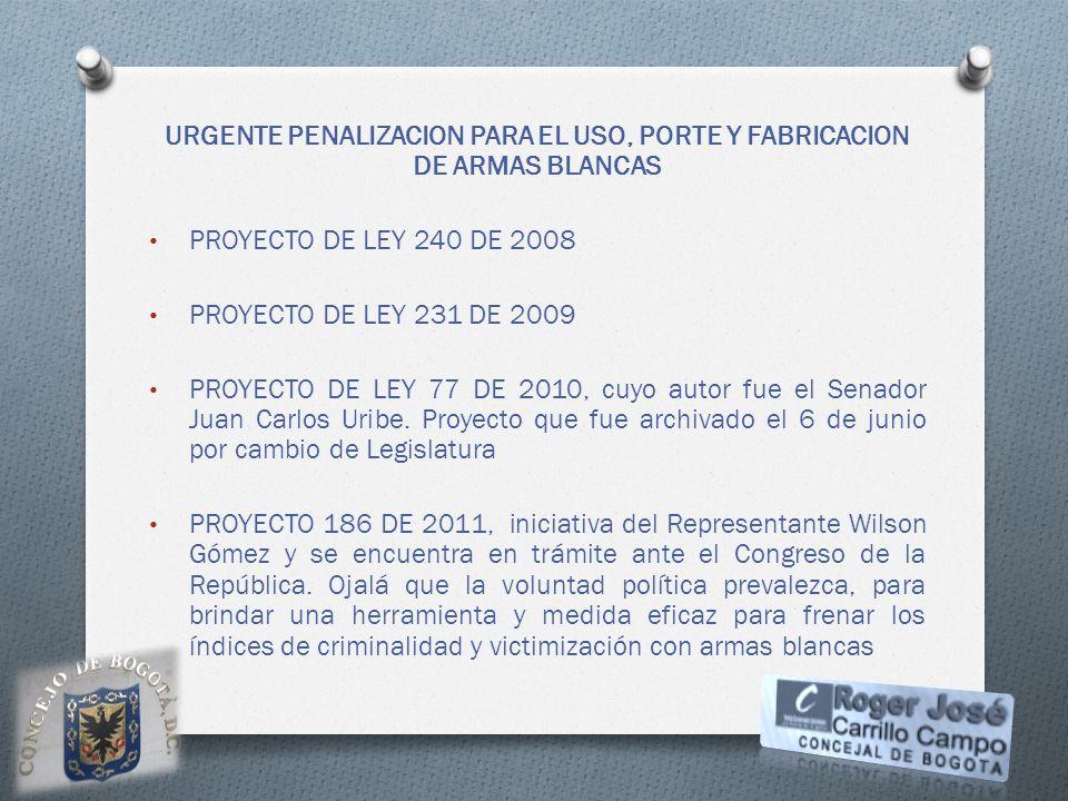 URGENTE PENALIZACION PARA EL USO, PORTE Y FABRICACION DE ARMAS BLANCAS