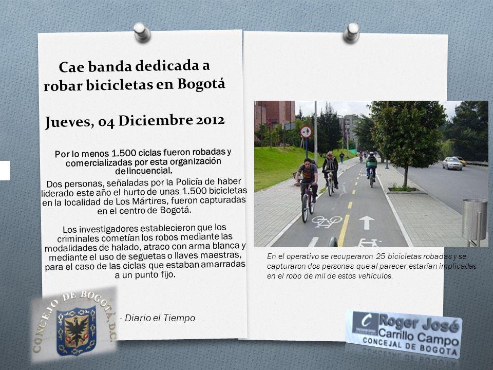 Cae banda dedicada a robar bicicletas en Bogotá Jueves, 04 Diciembre 2012