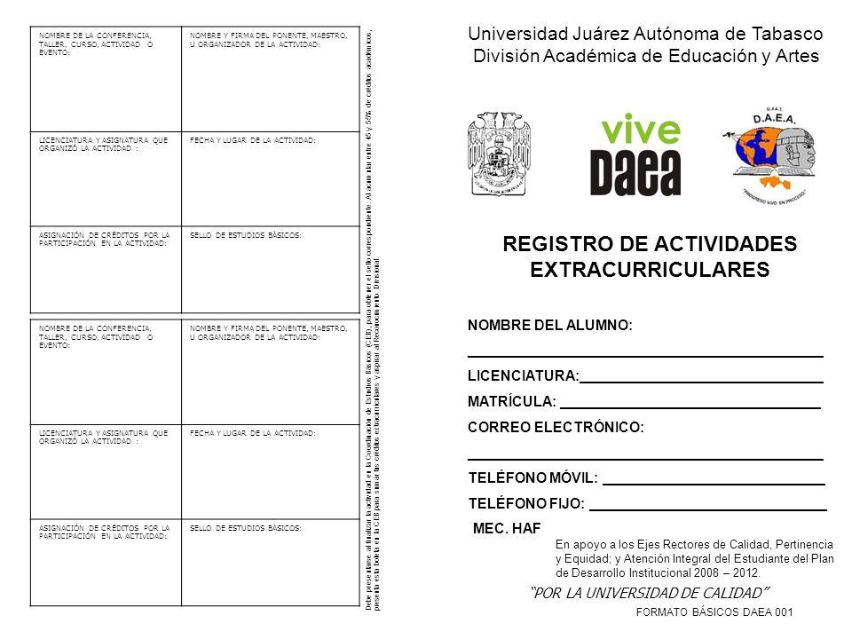 REGISTRO DE ACTIVIDADES EXTRACURRICULARES
