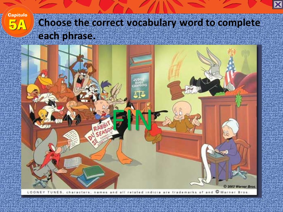 Choose the correct vocabulary word to complete each phrase.