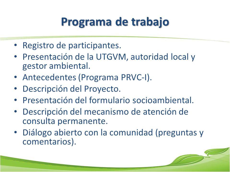 Programa de trabajo Registro de participantes.
