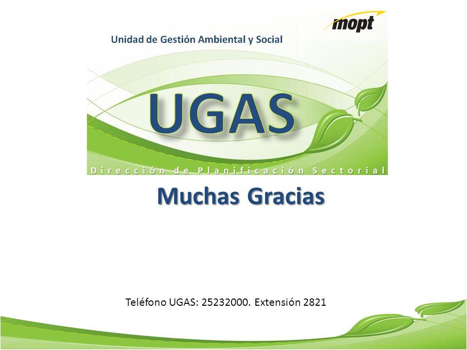 Teléfono UGAS: 25232000. Extensión 2821