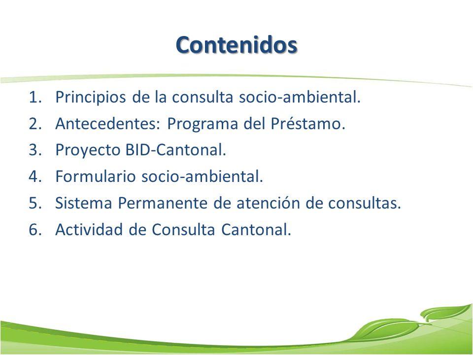 Contenidos Principios de la consulta socio-ambiental.