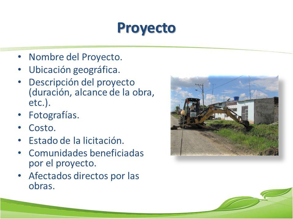Proyecto Nombre del Proyecto. Ubicación geográfica.