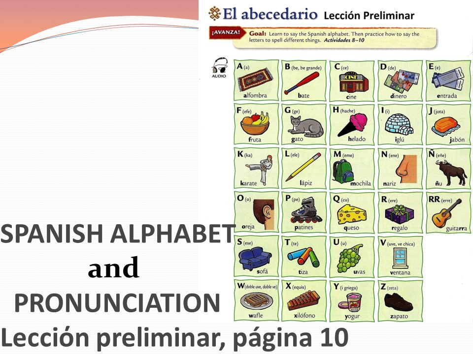 SPANISH ALPHABET PRONUNCIATION Lecciόn preliminar, página 10