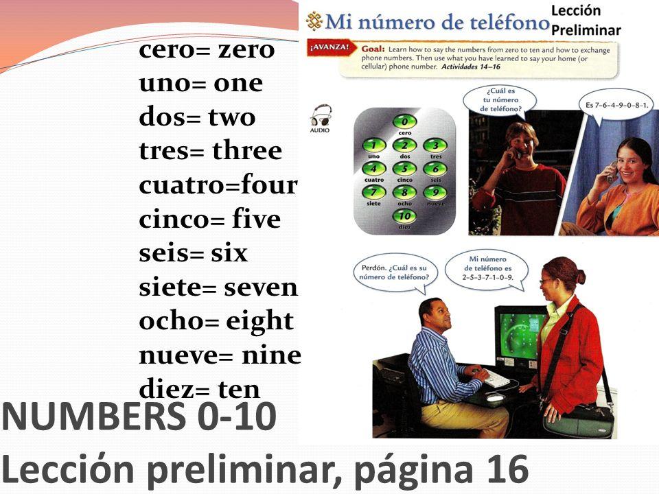 NUMBERS 0-10 Lecciόn preliminar, página 16