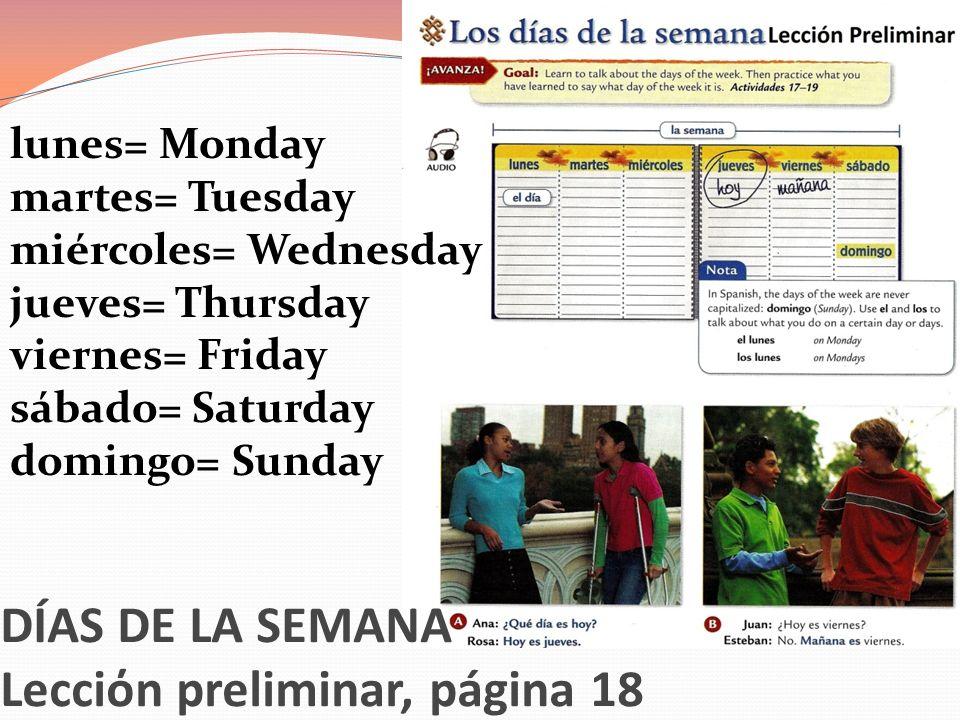 DÍAS DE LA SEMANA Lecciόn preliminar, página 18