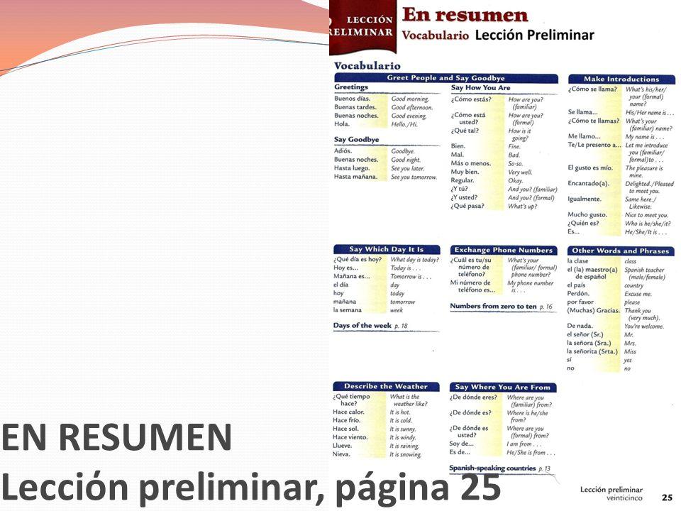 EN RESUMEN Lecciόn preliminar, página 25