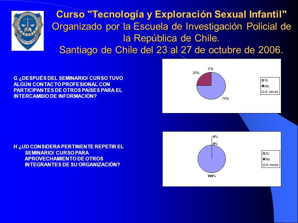 Curso Tecnología y Exploración Sexual Infantil Organizado por la Escuela de Investigación Policial de la República de Chile. Santiago de Chile del 23 al 27 de octubre de 2006.