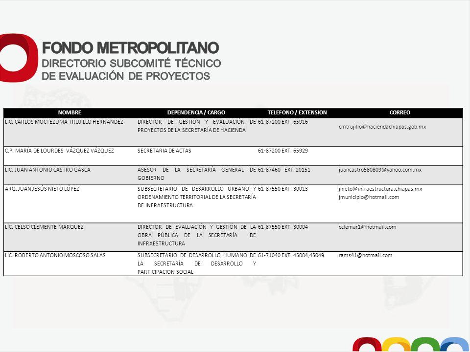 FONDO METROPOLITANO DIRECTORIO SUBCOMITÉ TÉCNICO
