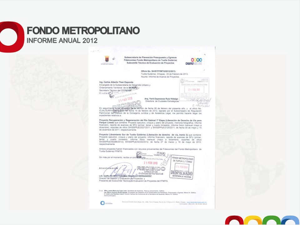 FONDO METROPOLITANO INFORME ANUAL 2012