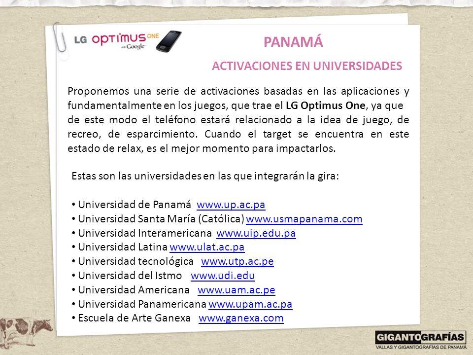 PANAMÁ ACTIVACIONES EN UNIVERSIDADES