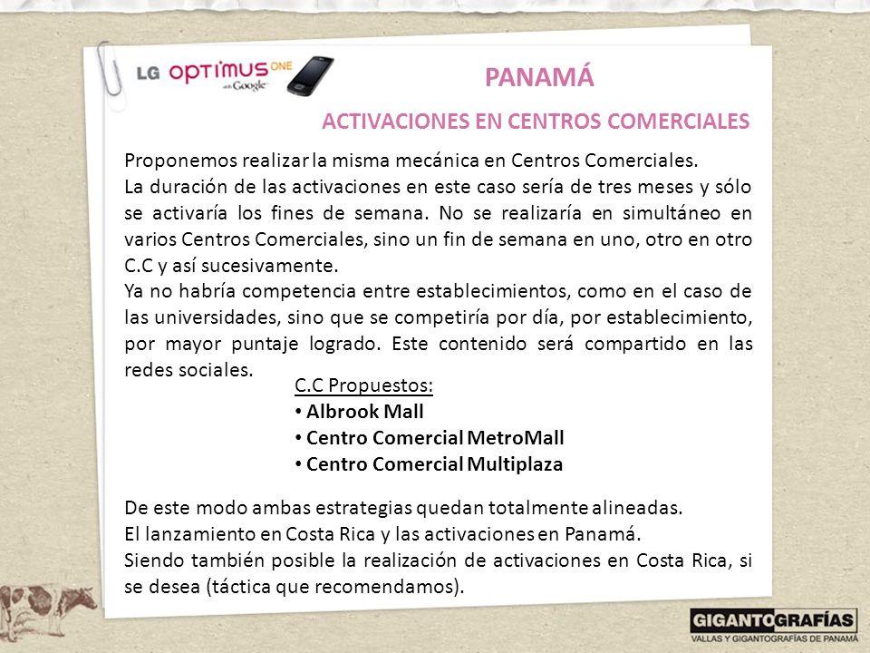 PANAMÁ ACTIVACIONES EN CENTROS COMERCIALES