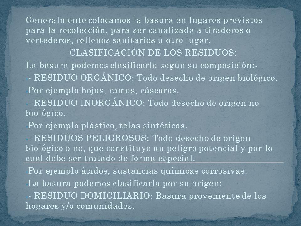 CLASIFICACIÓN DE LOS RESIDUOS: