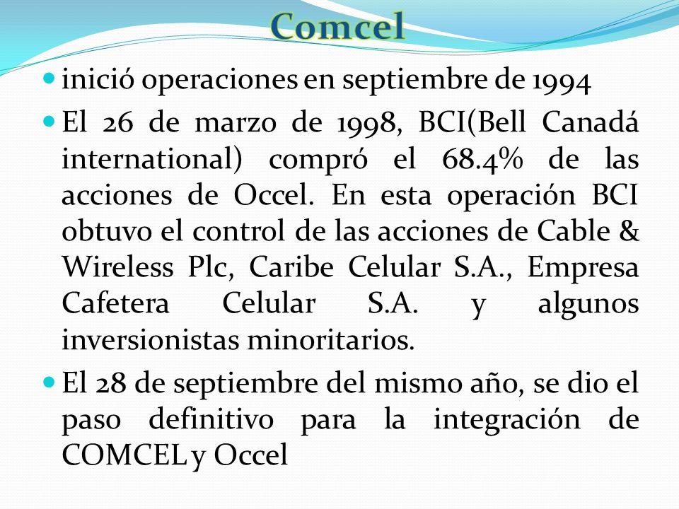 Comcel inició operaciones en septiembre de 1994