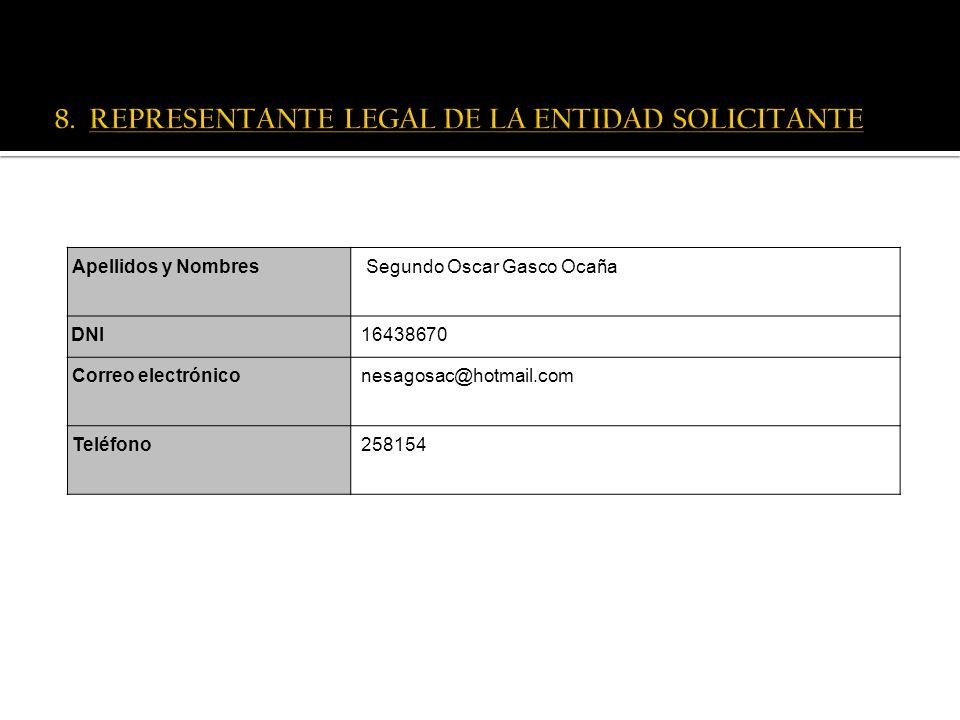 8. REPRESENTANTE LEGAL DE LA ENTIDAD SOLICITANTE