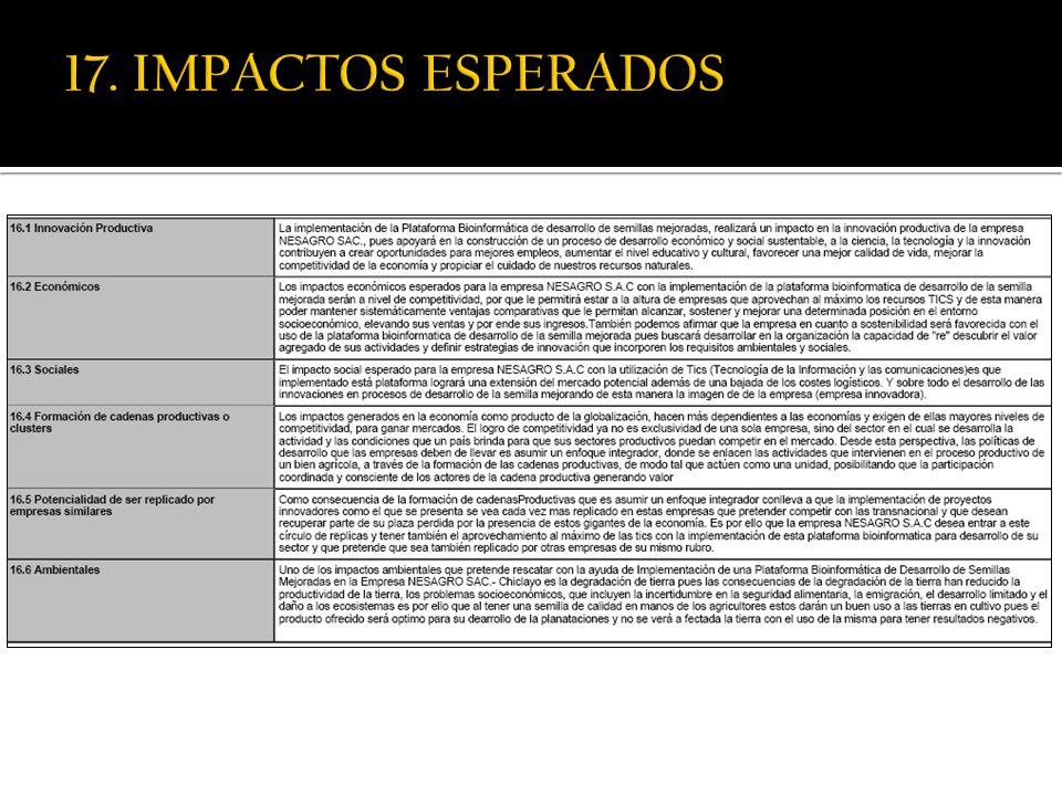 17. IMPACTOS ESPERADOS