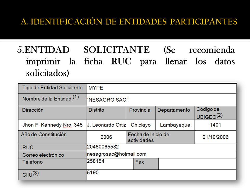 A. IDENTIFICACIÓN DE ENTIDADES PARTICIPANTES