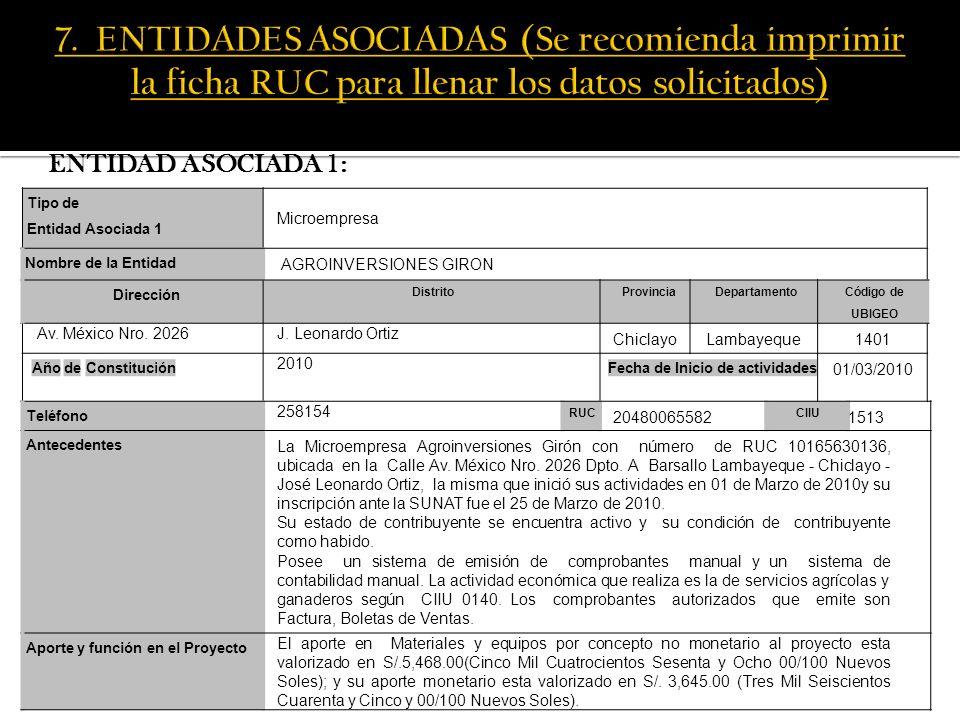 7. ENTIDADES ASOCIADAS (Se recomienda imprimir la ficha RUC para llenar los datos solicitados)