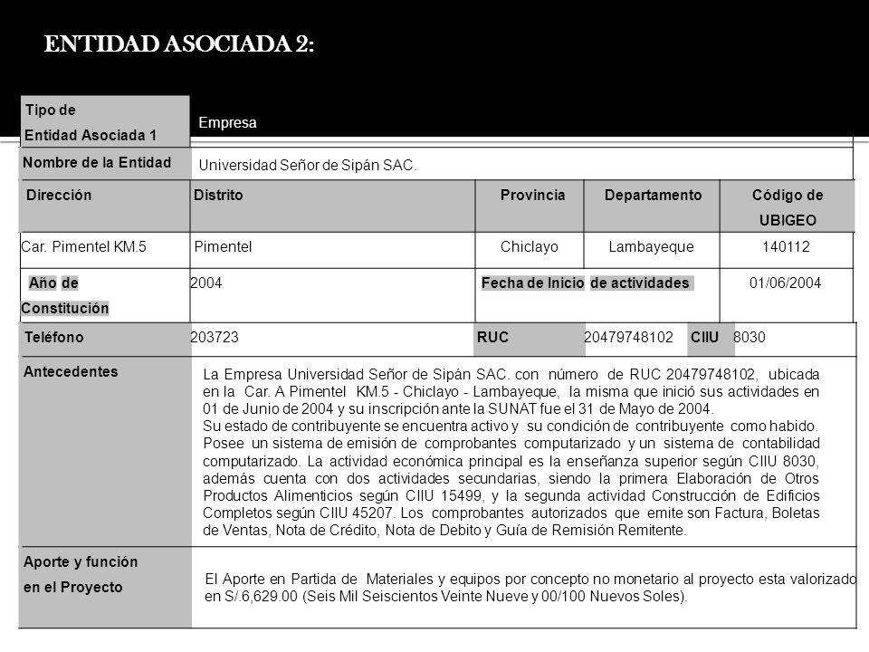 ENTIDAD ASOCIADA 2: Tipo de Entidad Asociada 1 Empresa
