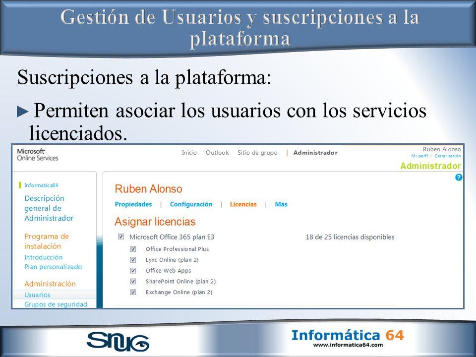 Gestión de Usuarios y suscripciones a la plataforma