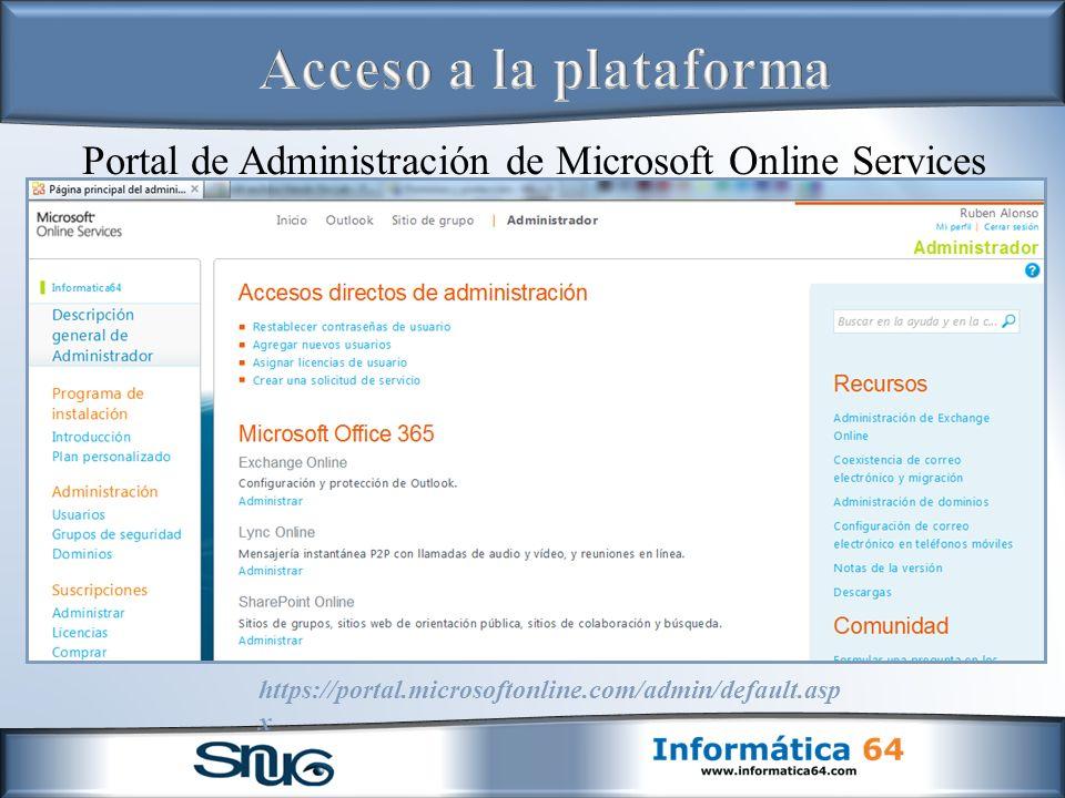Acceso a la plataforma Portal de Administración de Microsoft Online Services.