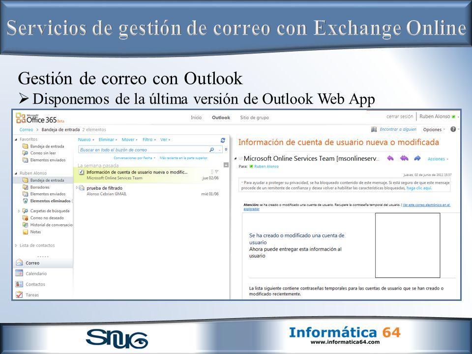 Servicios de gestión de correo con Exchange Online