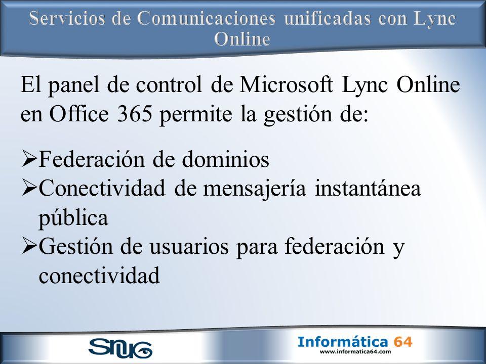 Servicios de Comunicaciones unificadas con Lync Online