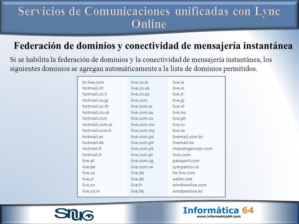Federación de dominios y conectividad de mensajería instantánea
