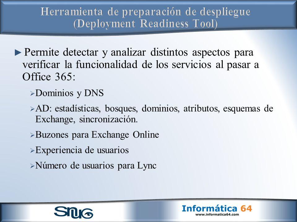 Herramienta de preparación de despliegue (Deployment Readiness Tool)