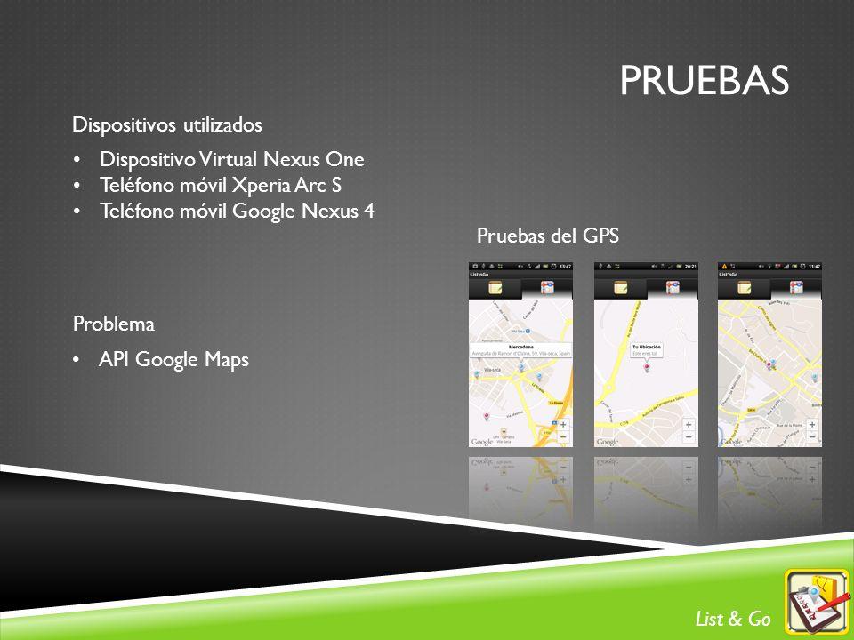 PRUEBAS Dispositivos utilizados Dispositivo Virtual Nexus One