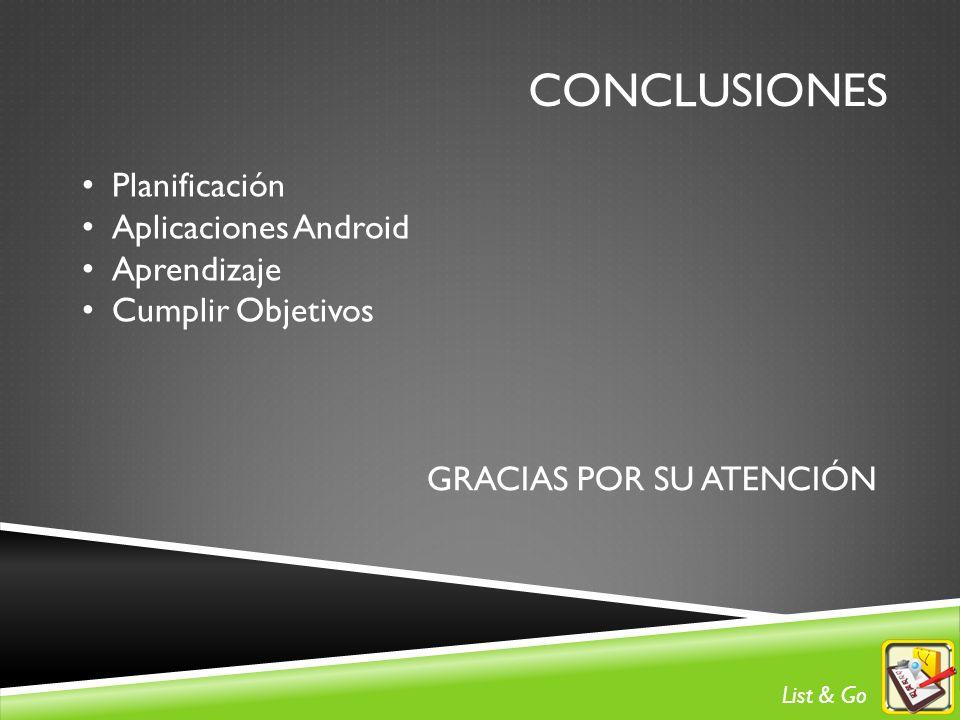 CONCLUSIONES Planificación Aplicaciones Android Aprendizaje