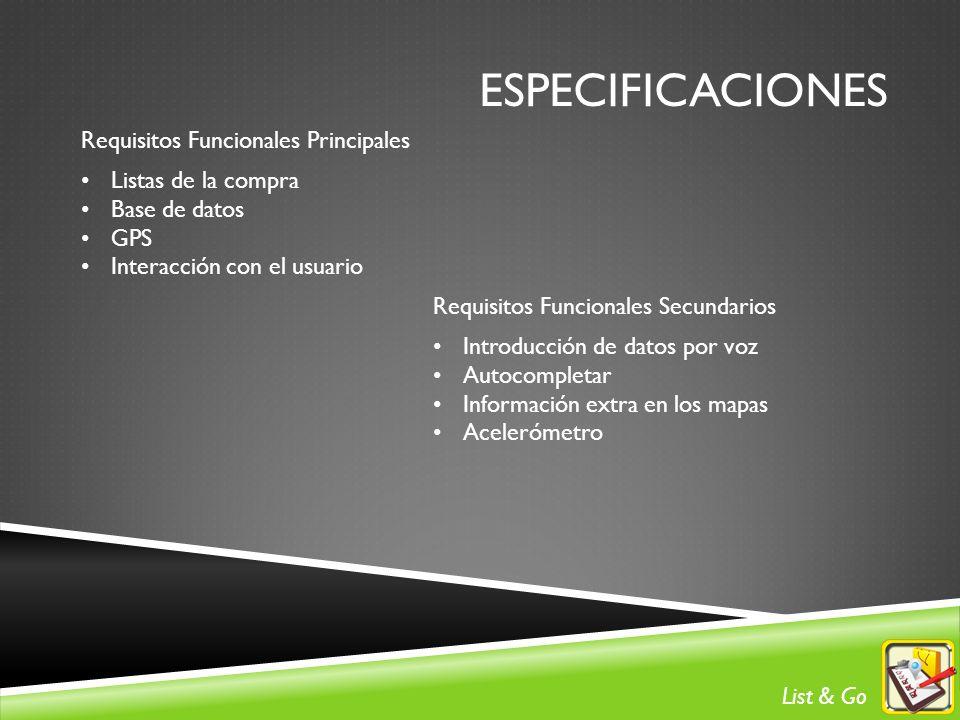 ESPECIFICACIONES Requisitos Funcionales Principales