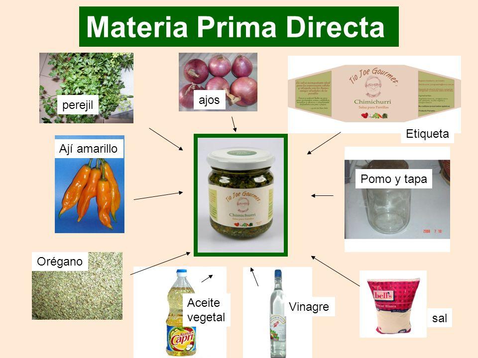 Materia Prima Directa ajos perejil Etiqueta Ají amarillo Pomo y tapa