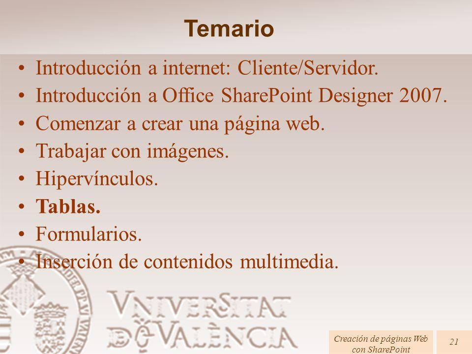 Creación de páginas Web con SharePoint