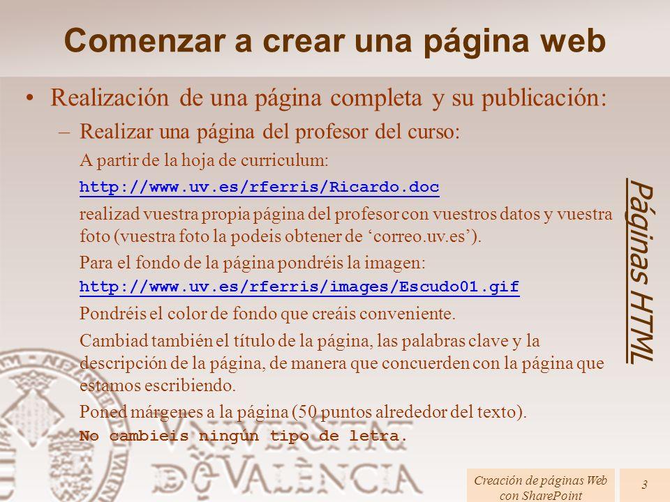 Comenzar a crear una página web