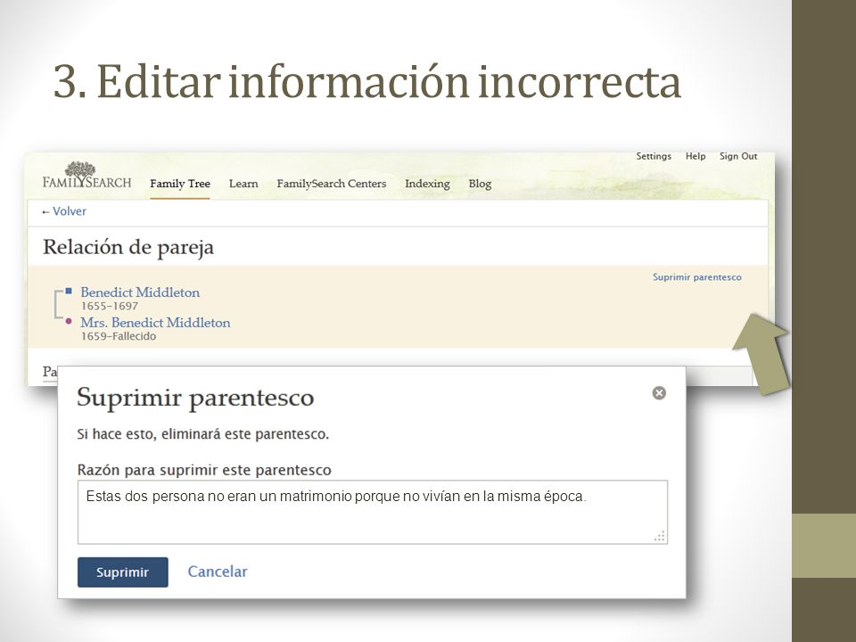 3. Editar información incorrecta