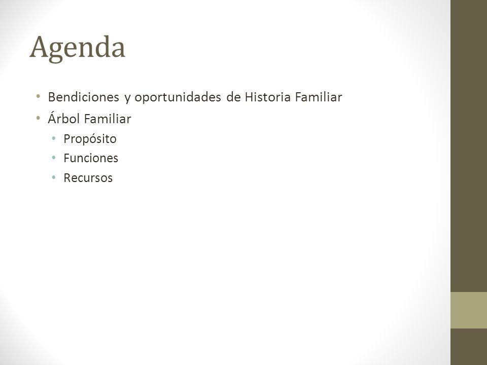 Agenda Bendiciones y oportunidades de Historia Familiar Árbol Familiar