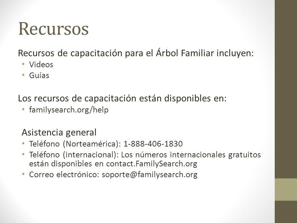 Recursos Recursos de capacitación para el Árbol Familiar incluyen: