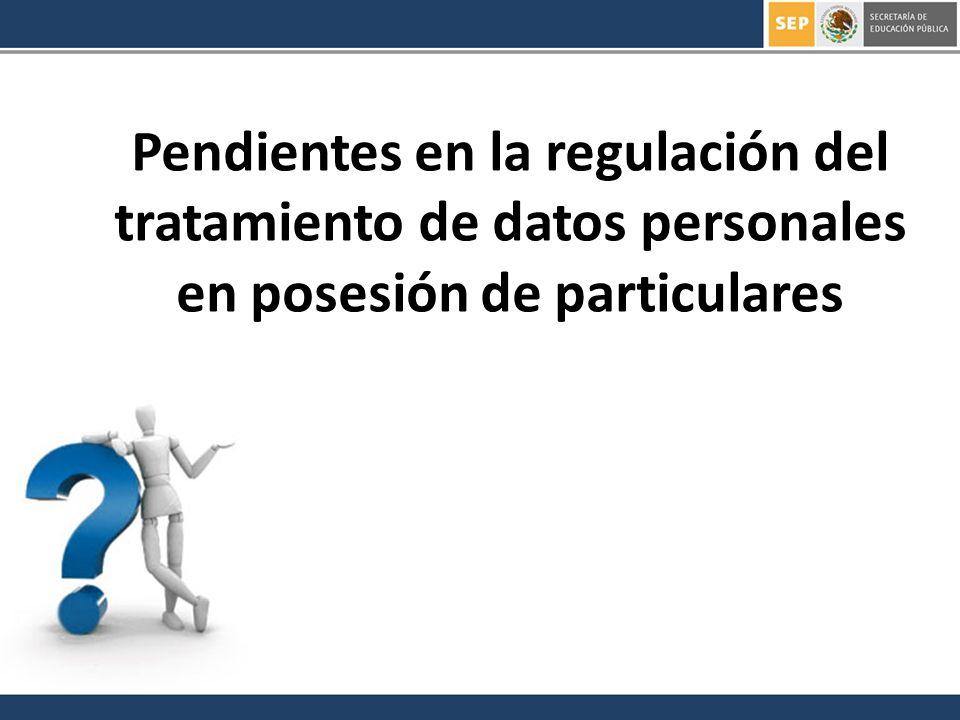 Pendientes en la regulación del tratamiento de datos personales en posesión de particulares