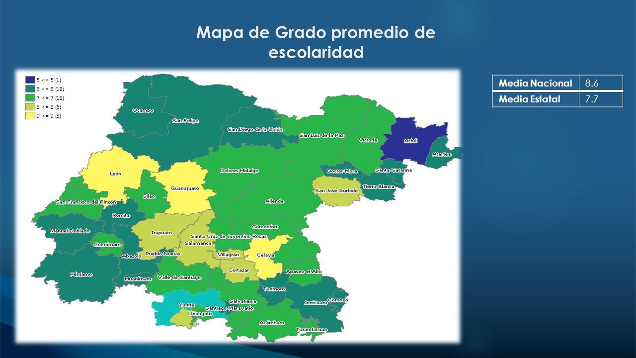 Mapa de Grado promedio de escolaridad