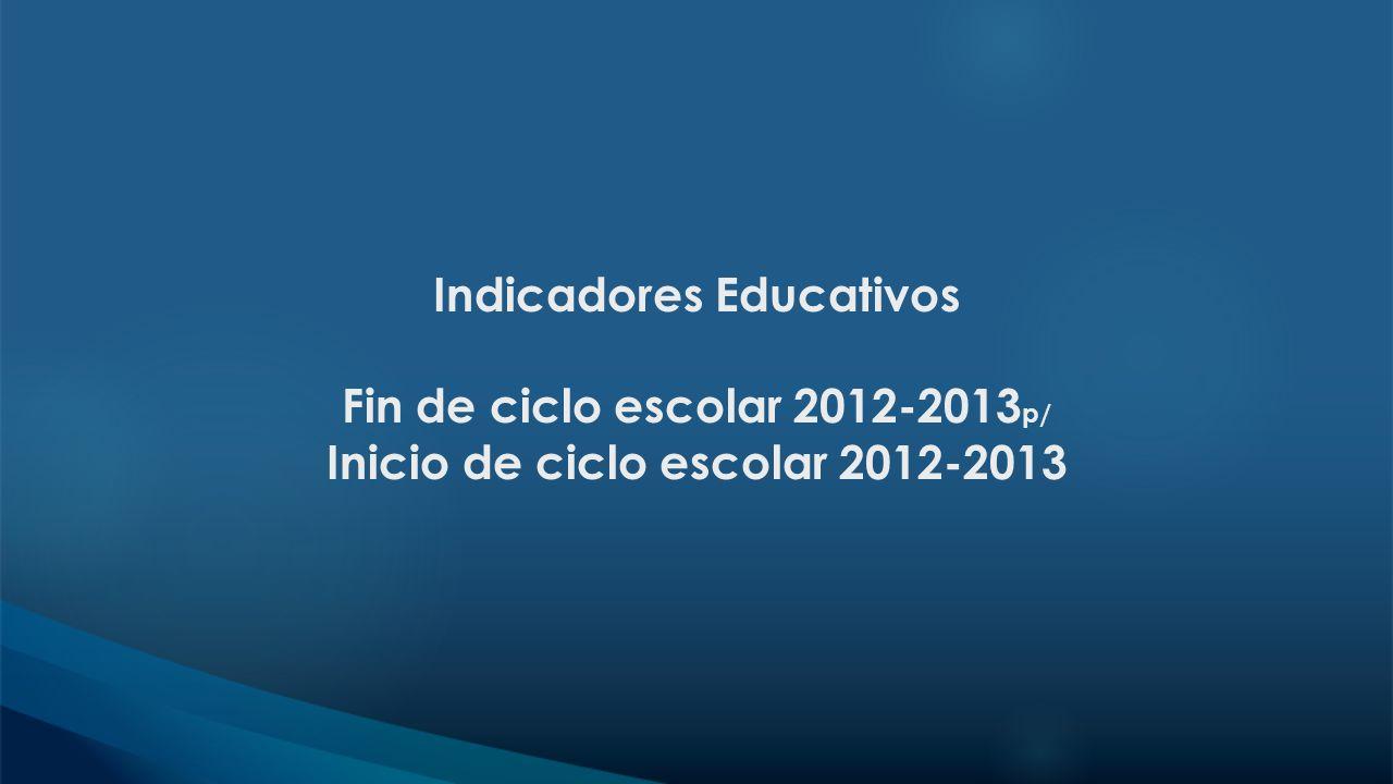 Indicadores Educativos Fin de ciclo escolar 2012-2013p/ Inicio de ciclo escolar 2012-2013
